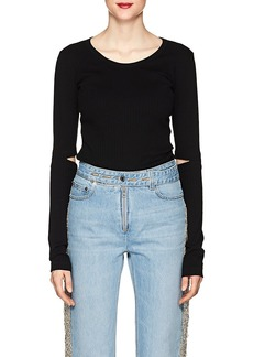 Helmut Lang Women's Cutout Cotton Rib-Knit T-Shirt