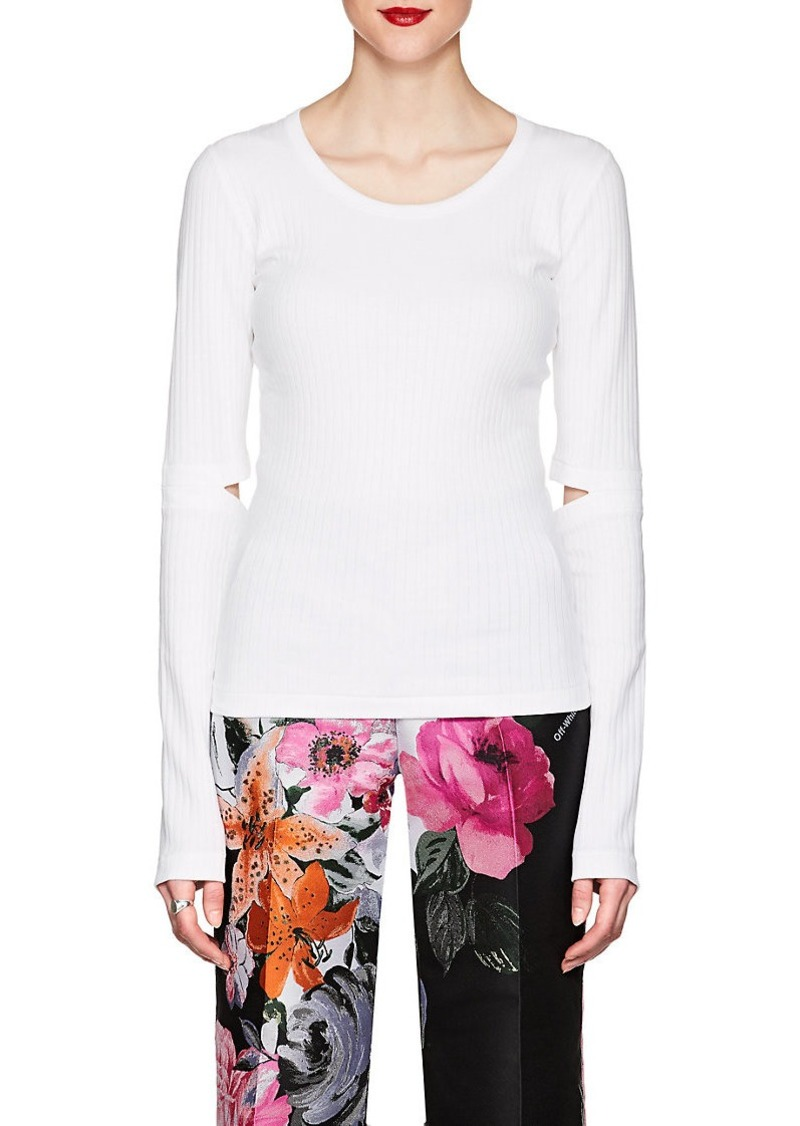 Helmut Lang Women's Cutout Rib-Knit Cotton T-Shirt