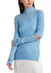 Helmut Lang Women's Cutout Rib-Knit Wool Mock-Turtleneck Top