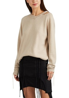 Helmut Lang Women's Distressed Cotton-Blend V-Neck Sweater