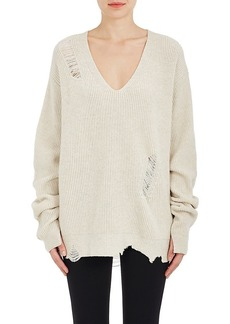 Helmut Lang Women's Distressed Wool-Cashmere Oversized Sweater
