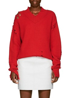 Helmut Lang Women's Distressed Wool V-Neck Sweater