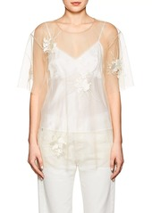 Helmut Lang Women's Embroidered Sheer Tulle Top