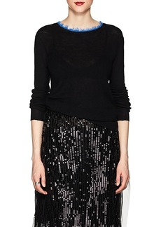 Helmut Lang Women's Frayed-Crewneck Cashmere Sweater