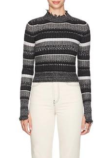 Helmut Lang Women's Frayed Striped Wool-Blend Sweater