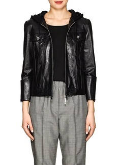 Helmut Lang Women's Hooded Glazed Leather Jacket