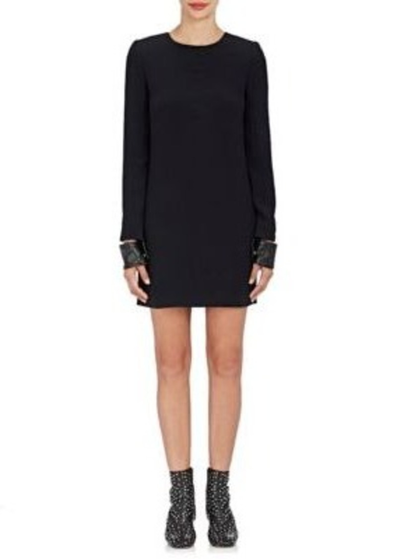 Helmut Lang Women's Leather-Cuff Compact Knit Minidress