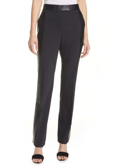 Helmut Lang Women's Leather Trim Wool Blend Trousers