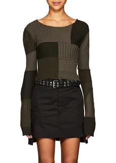 Helmut Lang Women's Multi-Knit Cotton-Wool Crop Sweater