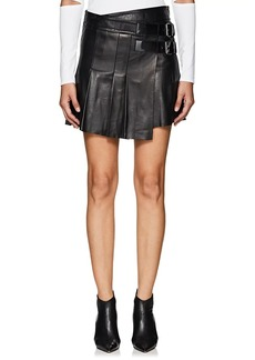 Helmut Lang Women's Pleated Leather Miniskirt