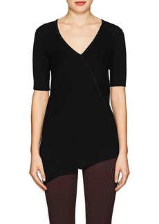Helmut Lang Women's Rib-Knit Cotton Asymmetric Top