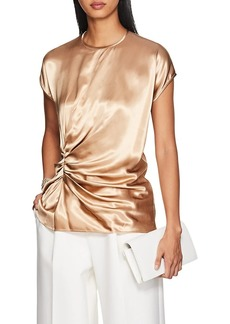 Helmut Lang Women's Ruched Satin Short-Sleeve Top