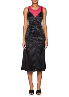 Helmut Lang Women's Ruched Satin Slipdress