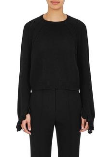Helmut Lang Women's Ruffle Wool-Cashmere Crop Sweater