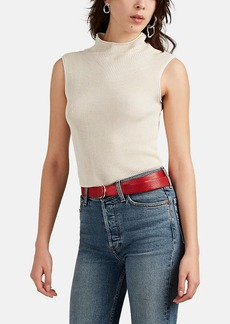 Helmut Lang Women's Semi-Sheer Rib-Knit Mock-Turtleneck Top