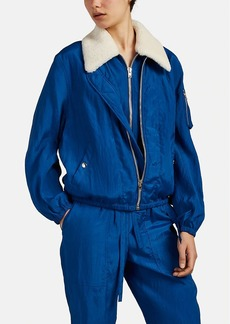 Helmut Lang Women's Shearling-Collar Tech-Crepe Bomber Jacket