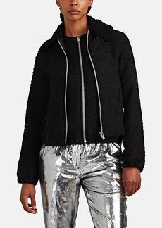 Helmut Lang Women's Shearling-Collar Wool-Blend Tweed Bomber Jacket
