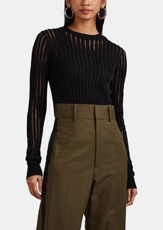 Helmut Lang Women's Sheer-Striped Cotton Rib-Knit Sweater