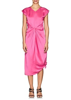 Helmut Lang Women's Twist-Front Cotton Satin Midi-Dress
