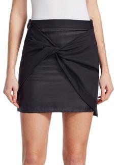 Wool Twill Sarong Mini Skirt