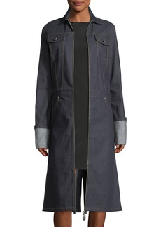 Helmut Lang Zip-Front Denim Trench Coat