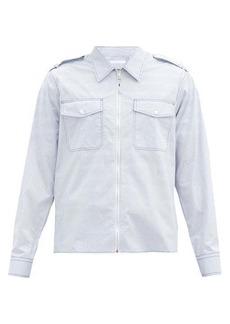 Helmut Lang Zip-through striped cotton-poplin overshirt
