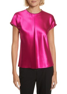 Helmut Lang Zipper Detail Lacquered Silk Top