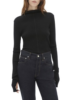 Helmut Lang High-Neck Long-Sleeve Rib Top