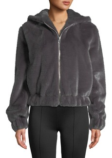 Helmut Lang Hooded Faux-Fur Bomber Jacket