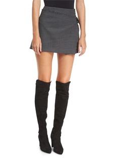 Houndstooth-Printed Pleated Mini Skirt w/ Frayed Edges