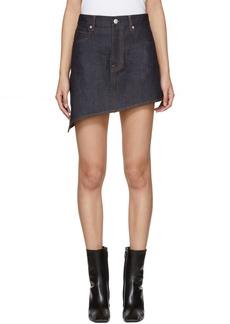 Helmut Lang Indigo Asymmetric Raw Denim Miniskirt