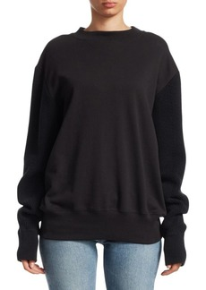 Helmut Lang Knit Sleeve Cotton Sweatshirt
