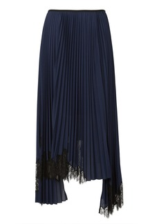 Helmut Lang Lace-Trimmed Pleated Skirt