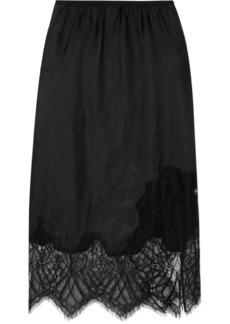 Helmut Lang Lace-trimmed Satin Midi Skirt