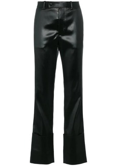 Helmut Lang lacquered extreme turn up trouser