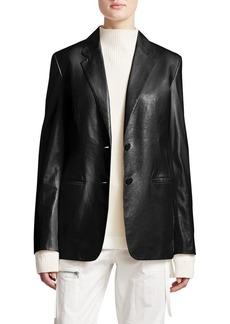 Helmut Lang Leather Notched Collar Blazer