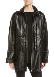 Helmut Lang Leather Zip-Front Anorak Jacket