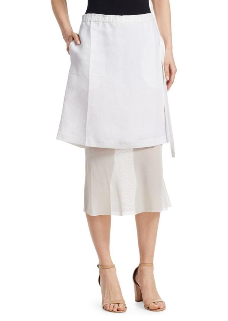 Helmut Lang Linen Layered Midi Skirt