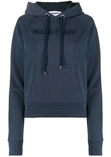Helmut Lang logo-embroidered hooded sweatshirt