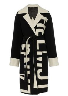 Helmut Lang logo knit belted coat