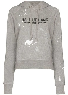 Helmut Lang logo-print paint-splattered cotton hoodie