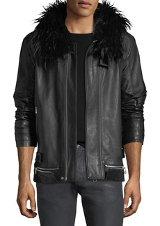 Helmut Lang Long Leather Zip-Front Coat