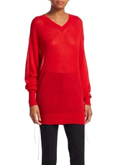 Helmut Lang Long Sleeve Cashmere V-Neck Sweater