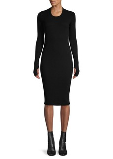 Helmut Lang Long-Sleeve Cotton Ribbed Dress