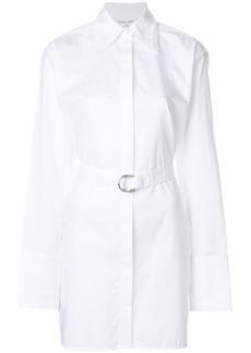 Helmut Lang longline belted pinstripe shirt