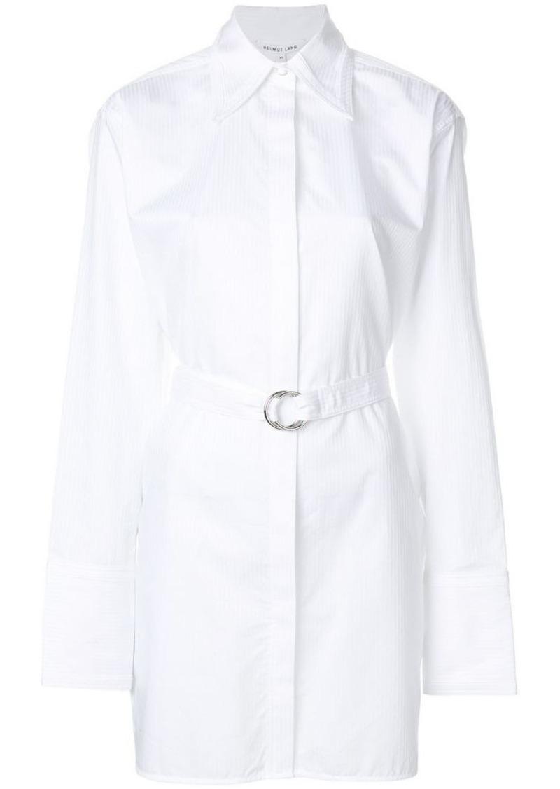longline belted pinstripe shirt