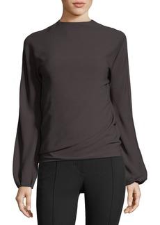 Helmut Lang Low-Back Long-Sleeve Draped Top
