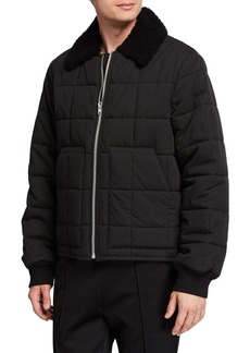 Helmut Lang Men's Quilted Nylon Bomber Jacket w/ Fur Collar