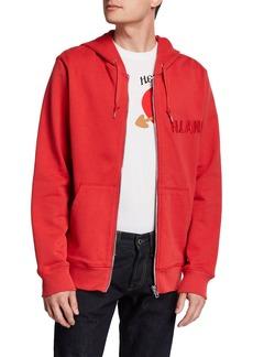 Helmut Lang Men's Raised Embroidery Zip-Up Hoodie Sweatshirt