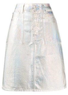 Helmut Lang metallic coated a-line skirt